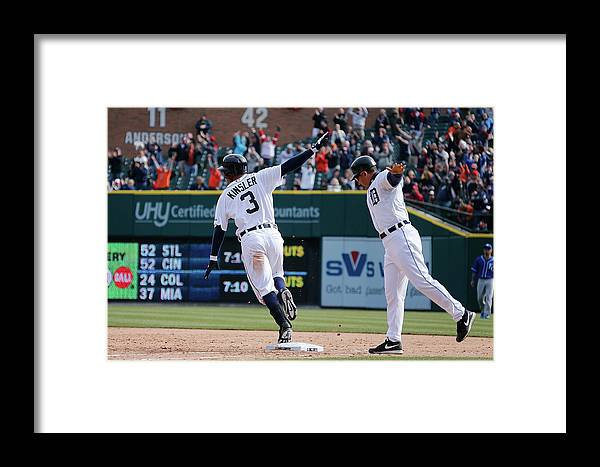 American League Baseball Framed Print featuring the photograph Ian Kinsler And Omar Vizquel by Gregory Shamus