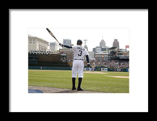 American League Baseball Framed Print featuring the photograph Ian Kinsler by John Grieshop