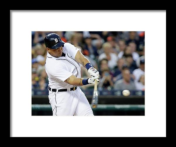 Three Quarter Length Framed Print featuring the photograph Ian Kinsler, Miguel Cabrera, and Anthony Gose by Duane Burleson