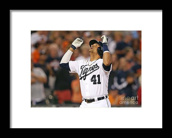 American League Baseball Framed Print featuring the photograph Ian Kinsler, Miguel Cabrera, and Victor Martinez by Leon Halip