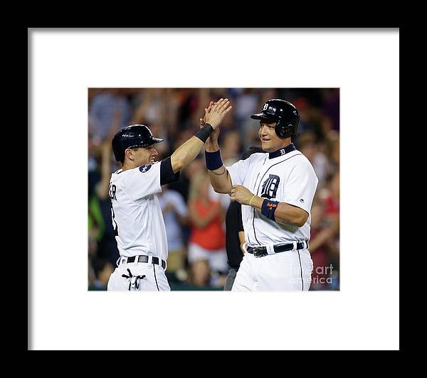Three Quarter Length Framed Print featuring the photograph Ian Kinsler, Nick Castellanos, and Miguel Cabrera by Duane Burleson