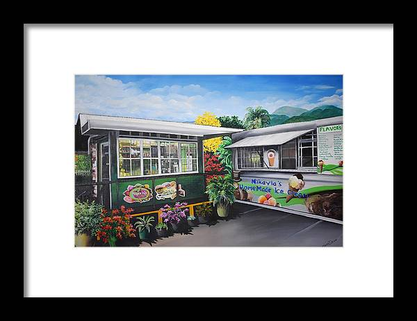 Houses Framed Print featuring the painting Ice Cream Parlor by Karin Dawn Kelshall- Best