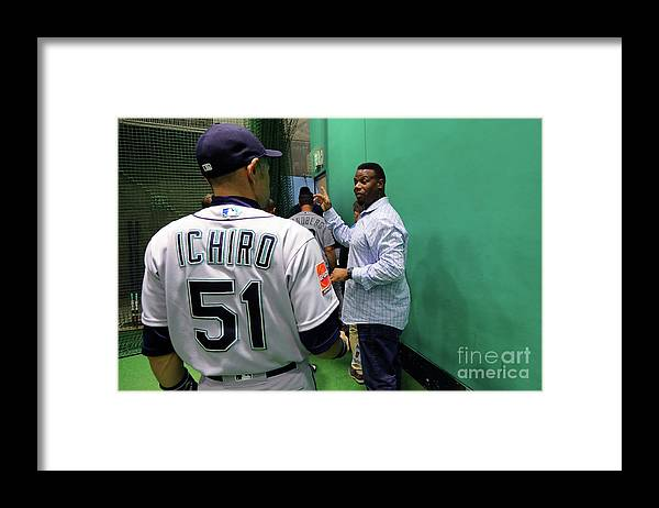 Following Framed Print featuring the photograph Ichiro Suzuki by Alex Trautwig