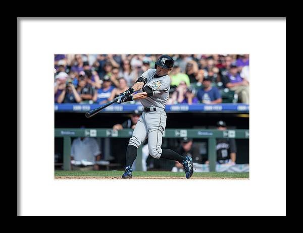 People Framed Print featuring the photograph Ichiro Suzuki and Chris Rusin by Dustin Bradford