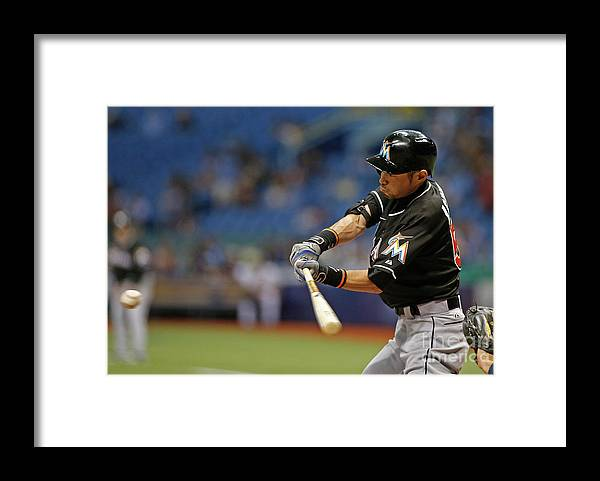 Three Quarter Length Framed Print featuring the photograph Ichiro Suzuki and Tim Beckham by Brian Blanco