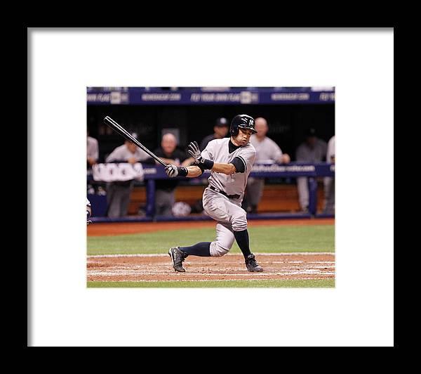 American League Baseball Framed Print featuring the photograph Ichiro Suzuki by Brian Blanco