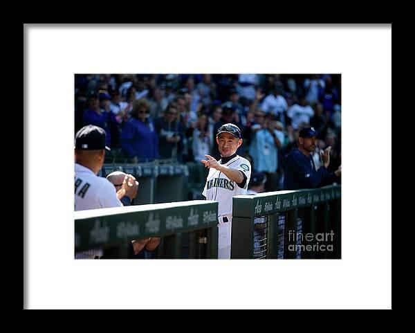 Three Quarter Length Framed Print featuring the photograph Ichiro Suzuki by Lindsey Wasson