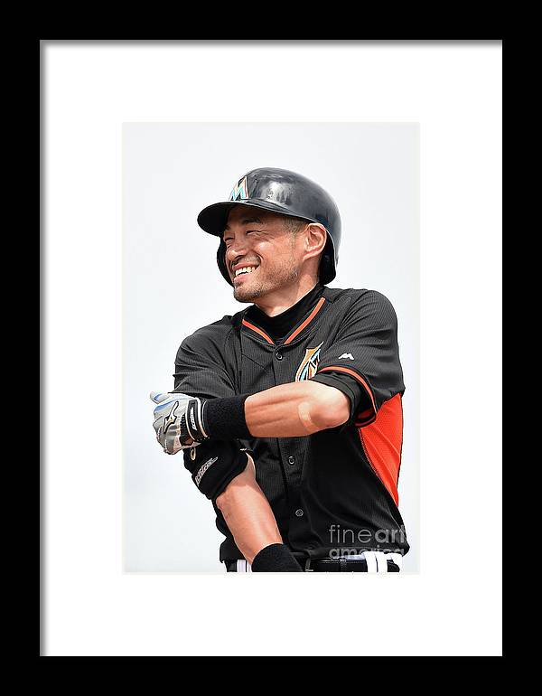 Second Inning Framed Print featuring the photograph Ichiro Suzuki by Stacy Revere