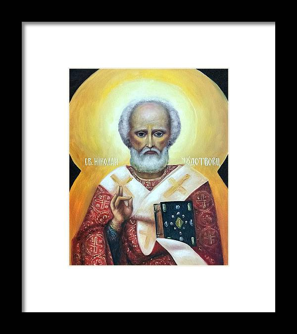 Religion Framed Print featuring the painting icon of St Nicholas the Wonderworker by Natalja Picugina