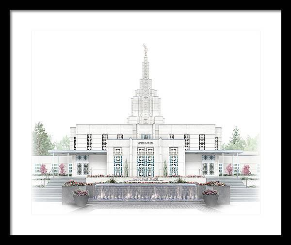 Idaho Falls Framed Print featuring the digital art Idaho Falls Temple - Celestial Series by Brent Borup
