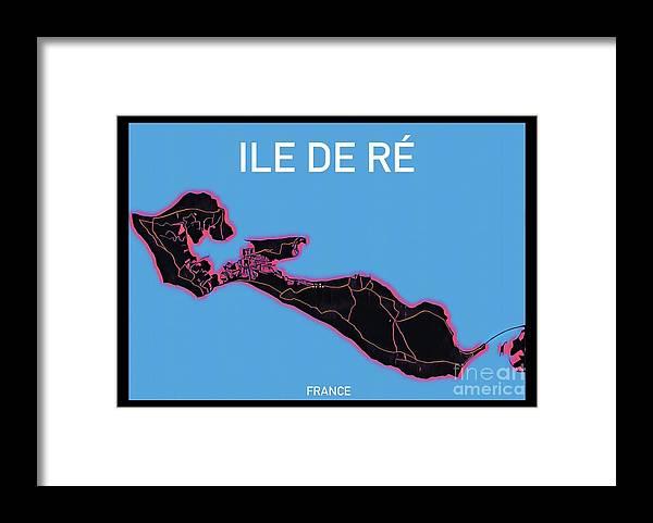 Ile De Re Framed Print featuring the digital art Ile de Re Map by HELGE Art Gallery