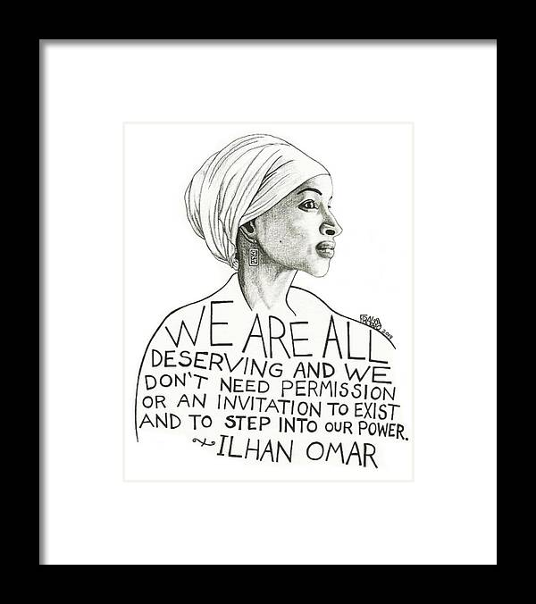 Pen And Ink Illustration Framed Print featuring the drawing Ilhan Omar Drawing by Rick Frausto