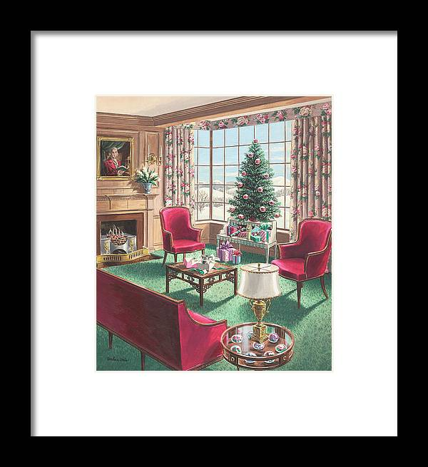 Framed Print featuring the painting Illustration Of A Christmas Living Room Scene by Urban Weis