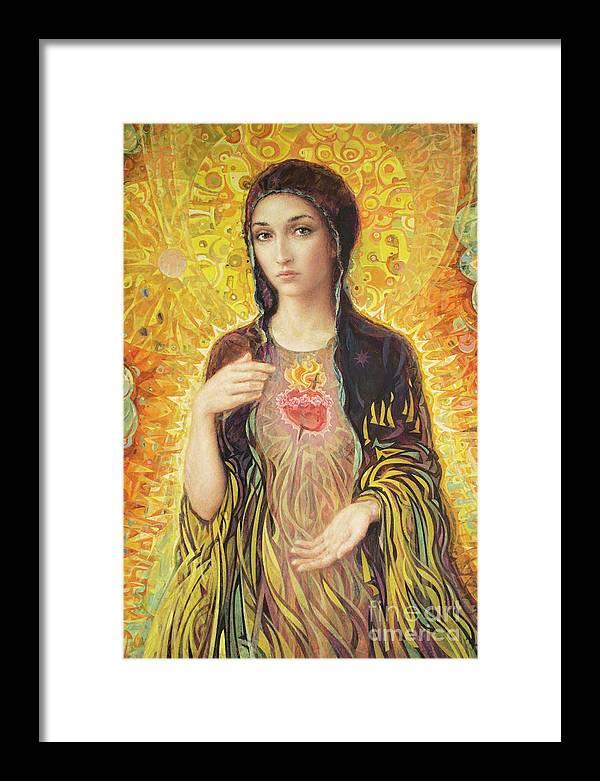 Immaculate Heart Of Mary Framed Print featuring the painting Immaculate Heart of Mary olmc by Smith Catholic Art
