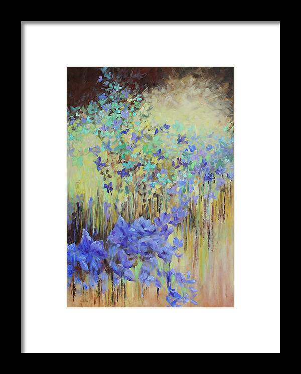 Iris Framed Print featuring the painting In Flight by Joanne Smoley