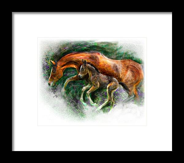 Horse Framed Print featuring the painting In Harmony Three Days Old Arabian Mare Running Foal by Connie Moses