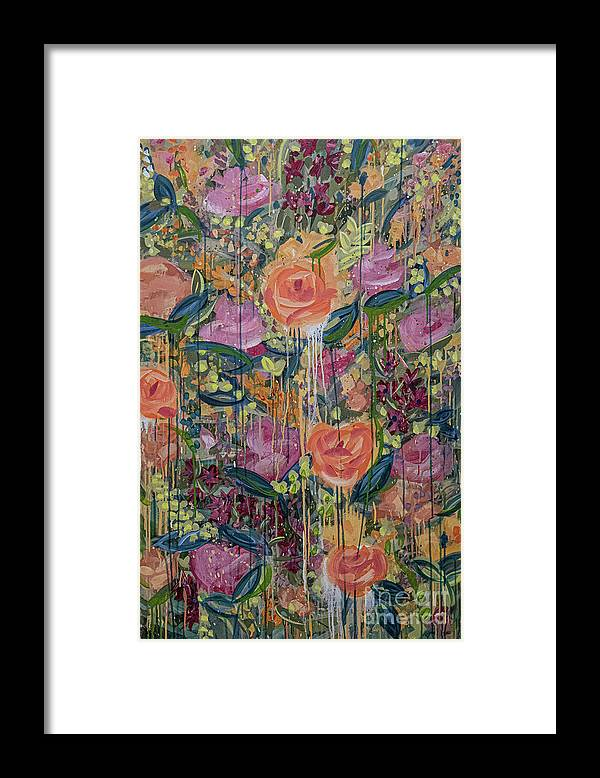 English Garden Framed Print featuring the painting In The Garden by Amanda Armstrong