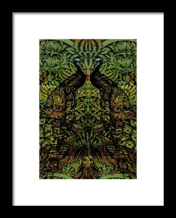 Peafowls Framed Print featuring the digital art Indian Blue Peafowl Pattern by Sarah Vernon