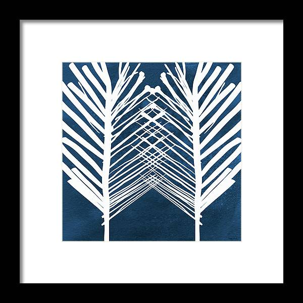 Leaves Framed Print featuring the painting Indigo and White Leaves- Abstract Art by Linda Woods