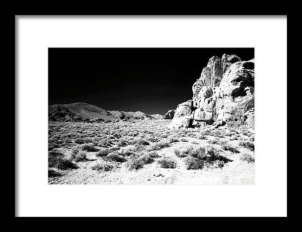 Valley View Infrared Framed Print featuring the photograph Infrared Valley of Fire View in Nevada by John Rizzuto