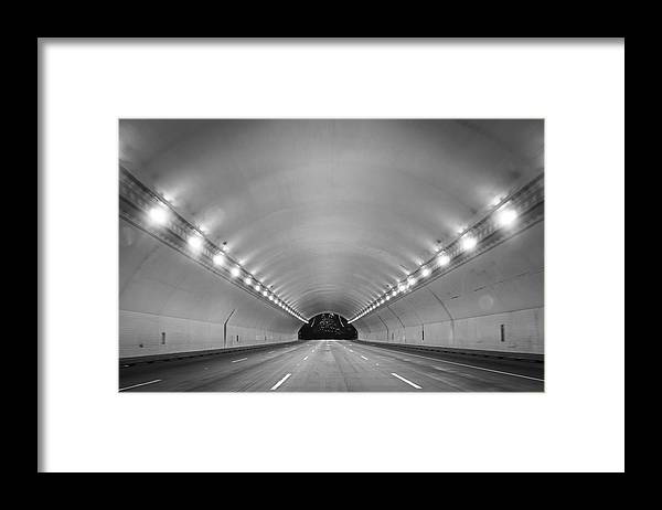 Ceiling Framed Print featuring the photograph Interior Of Illuminated Tunnel by Jesse Coleman / EyeEm