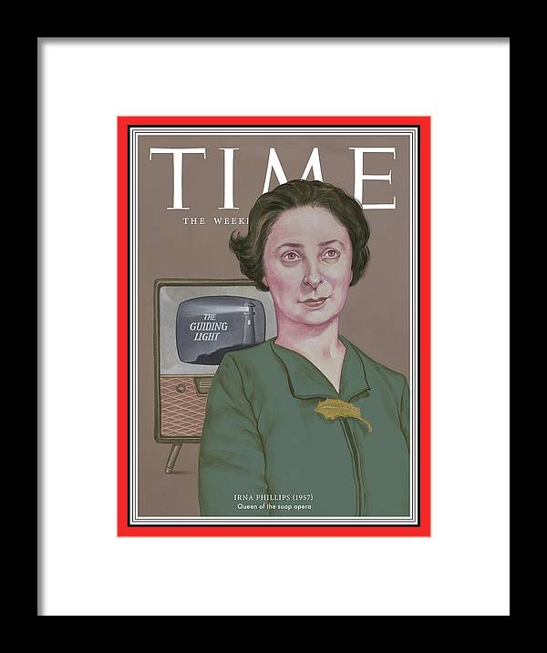 Time Framed Print featuring the photograph Irna Phillips, 1957 by TIMEIllustration by Anita Kunz for TIME