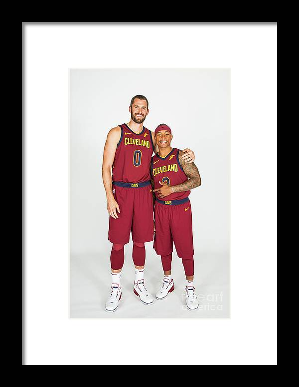 Media Day Framed Print featuring the photograph Isaiah Thomas and Kevin Love by Michael J. Lebrecht Ii
