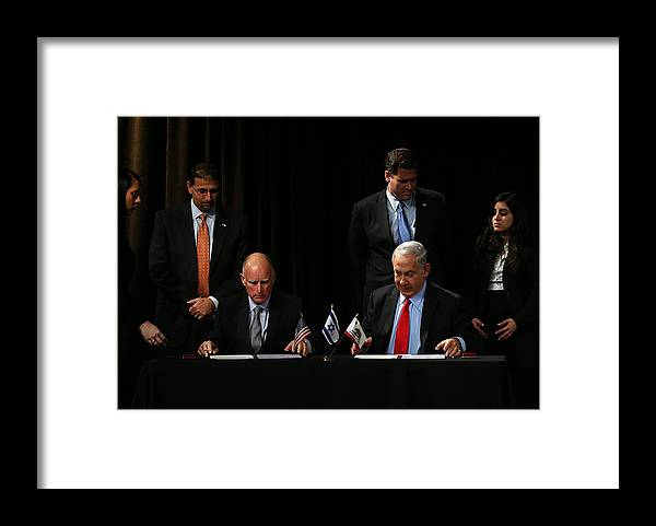 Research Framed Print featuring the photograph Israeli Prime Minister Netanyahu Meets With California Gov. Jerry Brown In San Francisco by Justin Sullivan