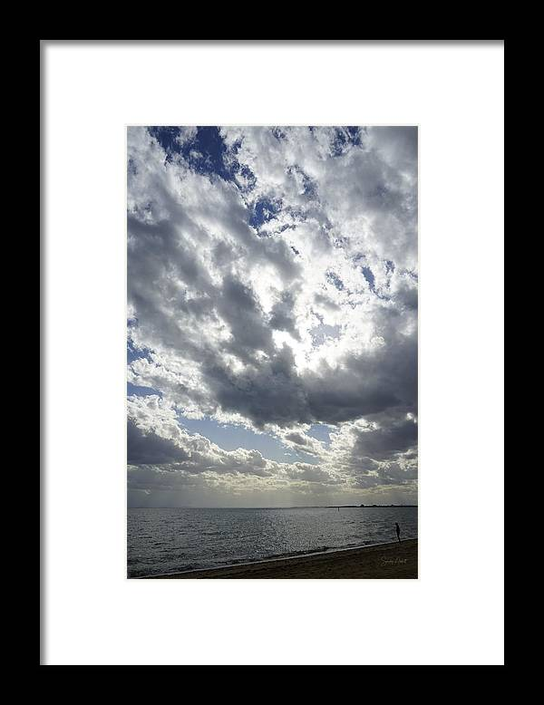 Blue Framed Print featuring the photograph It is a big world by Sandy Abbott
