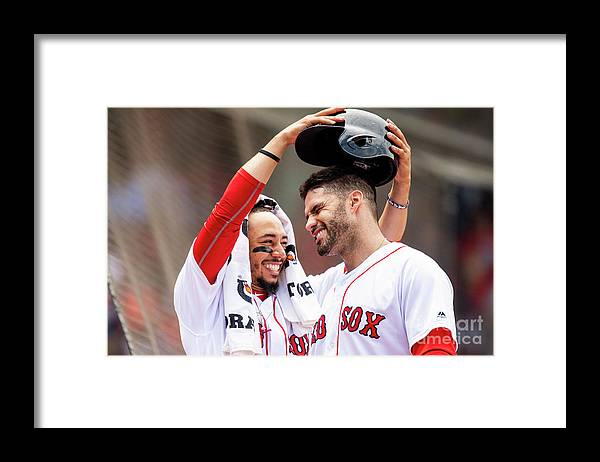 Headwear Framed Print featuring the photograph J. D. Martinez by Billie Weiss/boston Red Sox