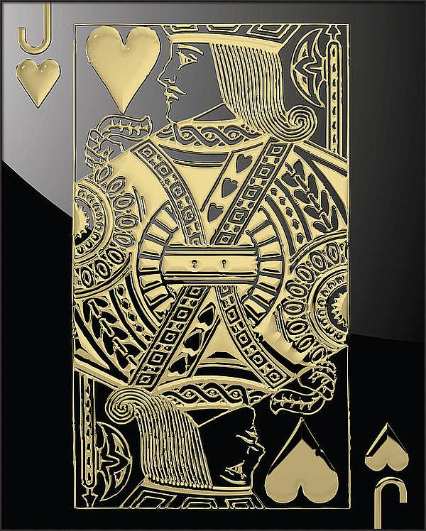 Jack of Hearts in Gold over Black by Serge Averbukh