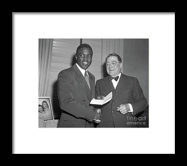 Office Framed Print featuring the photograph Jackie Robinson And Branch Rickey by Transcendental Graphics