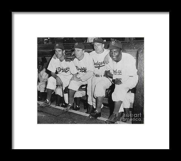 People Framed Print featuring the photograph Jackie Robinson and Pee Wee Reese by National Baseball Hall Of Fame Library