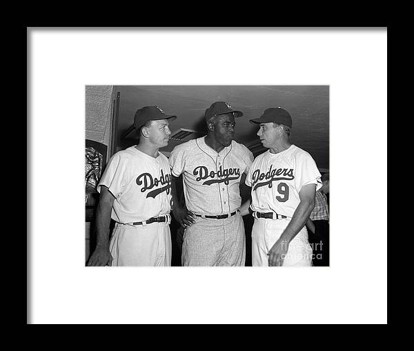 Jackie Robinson Framed Print featuring the photograph Jackie Robinson and Pee Wee Reese by Olen Collection