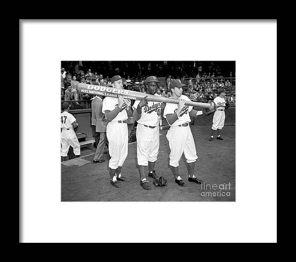 1950-1959 Framed Print featuring the photograph Jackie Robinson, Duke Snider, and Pee Wee Reese by Olen Collection