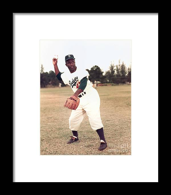 People Framed Print featuring the photograph Jackie Robinson by Kidwiler Collection