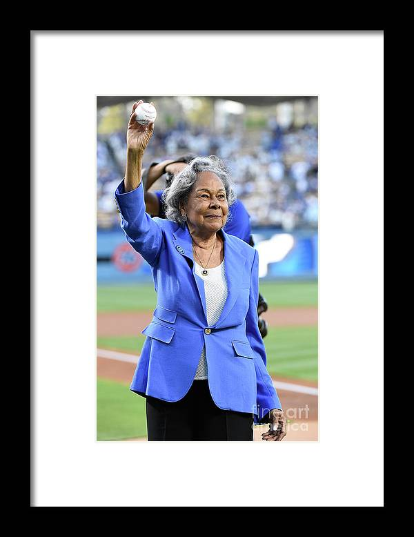 Crowd Framed Print featuring the photograph Jackie Robinson by Lisa Blumenfeld