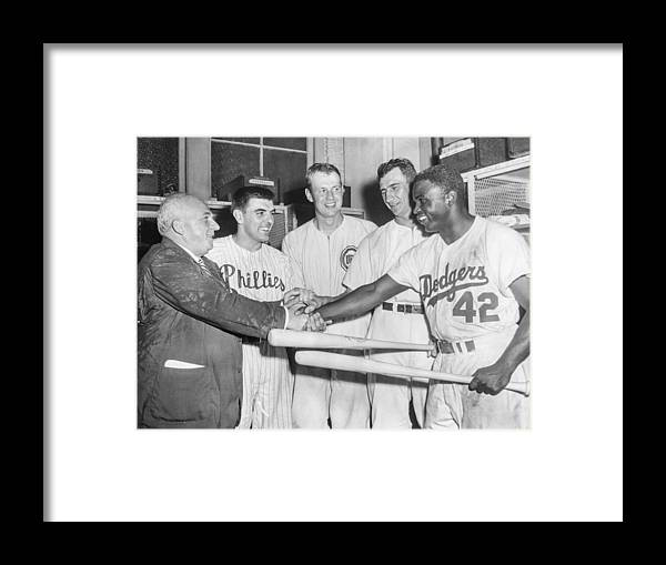 American League Baseball Framed Print featuring the photograph Jackie Robinson by The Stanley Weston Archive