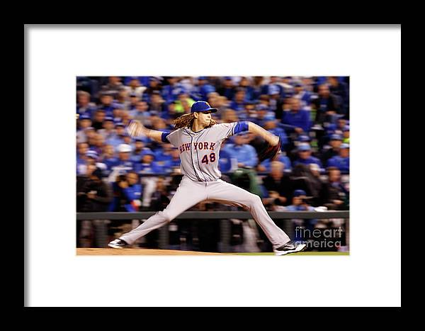Jacob Degrom Framed Print featuring the photograph Jacob Degrom by Christian Petersen