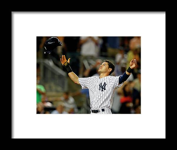 Headwear Framed Print featuring the photograph Jacoby Ellsbury and Mark Teixeira by Rich Schultz