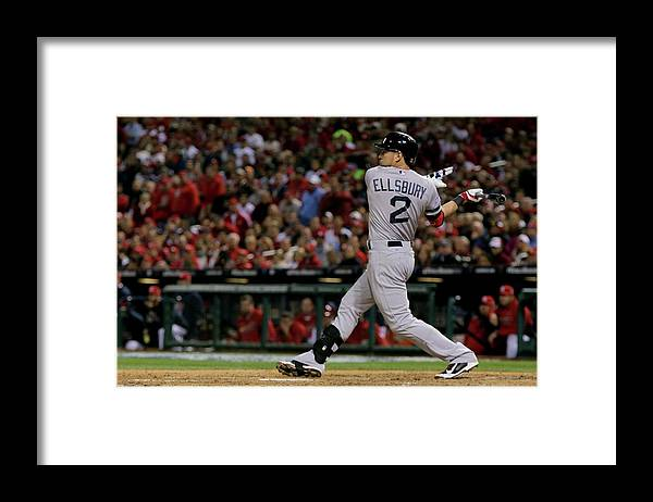 American League Baseball Framed Print featuring the photograph Jacoby Ellsbury and Stephen Drew by Elsa