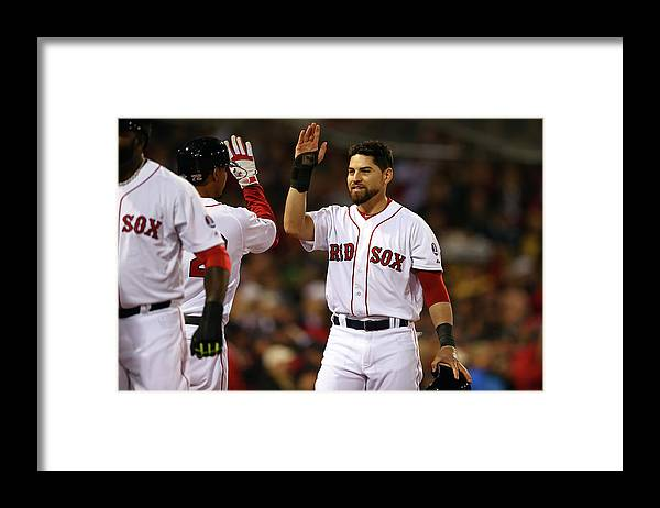 American League Baseball Framed Print featuring the photograph Jacoby Ellsbury and Xander Bogaerts by Elsa