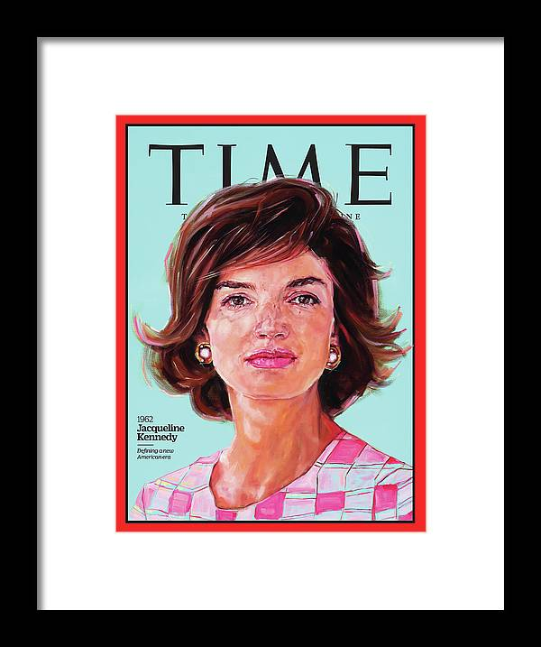 Time Framed Print featuring the photograph Jacqueline Kennedy, 1962 by Painting by Shana Wilson for TIME