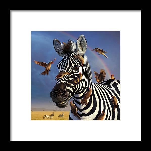 Zebra Framed Print featuring the digital art Jailbird, A Closer Look by Jerry LoFaro