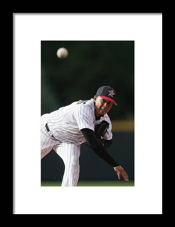 Following Framed Print featuring the photograph Jair Jurrjens by Dustin Bradford