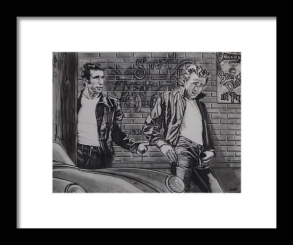 Charcoal Pencil On Paper Framed Print featuring the drawing James Dean Meets The Fonz by Sean Connolly