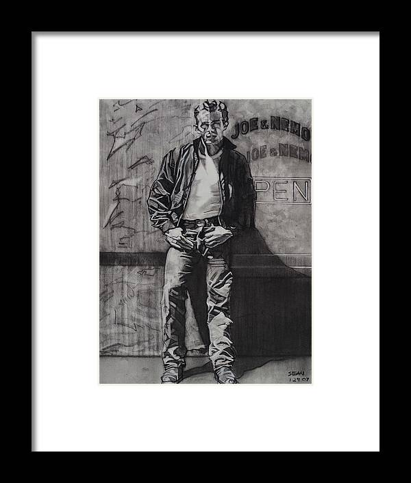 Charcoal On Paper Framed Print featuring the drawing James Dean by Sean Connolly