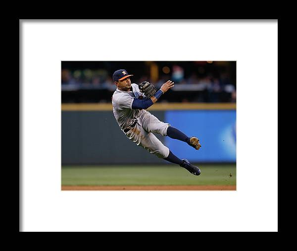 American League Baseball Framed Print featuring the photograph James Jones and Jonathan Villar by Otto Greule Jr