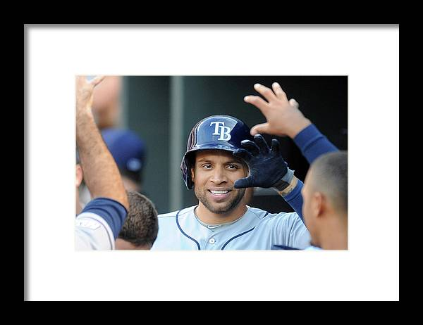 Game Two Framed Print featuring the photograph James Loney by Mitchell Layton