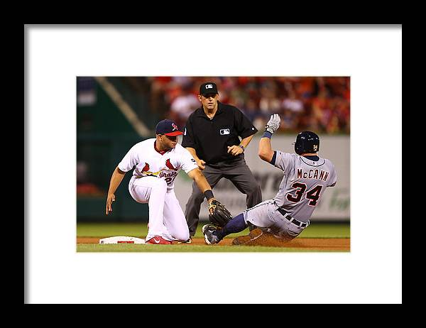 St. Louis Cardinals Framed Print featuring the photograph James Mccann And Jhonny Peralta by Dilip Vishwanat